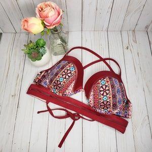 Shade & Shore Red Boho Embroidered Swim Bikini Top